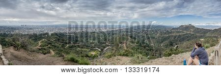 Looking out over Los Angeles from the top of a hike from the Griffith Observatory