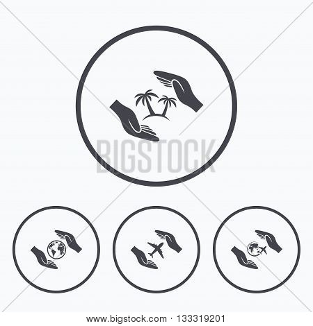 Hands insurance icons. Palm trees symbol. Travel trip flight insurance symbol. World globe sign. Icons in circles.