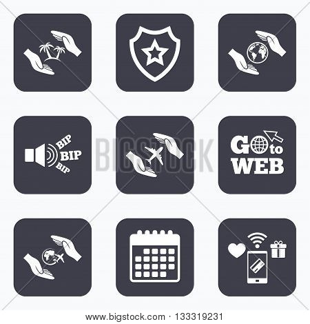 Mobile payments, wifi and calendar icons. Hands insurance icons. Palm trees symbol. Travel trip flight insurance symbol. World globe sign. Go to web symbol.