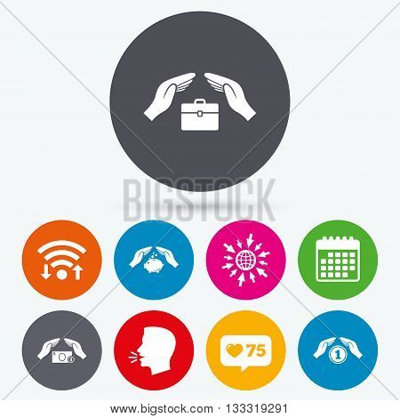 Wifi, like counter and calendar icons. Hands insurance icons. Piggy bank moneybox symbol. Money savings insurance signs. Travel luggage and cash coin symbols. Human talk, go to web.