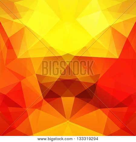 Background Made Of Triangles. Square Composition With Geometric Shapes. Eps 10. Yellow, Orange, Red