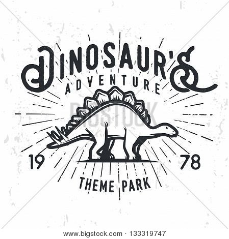 Vector dinosaur adventure logo concept. Stegosaurus theme park insignia design. Jurassic period illustration. Vintage T-shirt badge on grunge background.