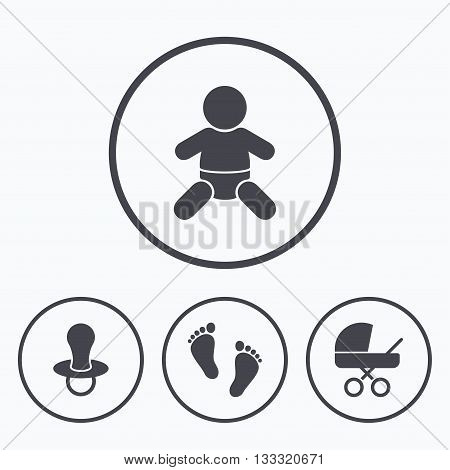Baby infants icons. Toddler boy with diapers symbol. Buggy and dummy signs. Child pacifier and pram stroller. Child footprint step sign. Icons in circles.