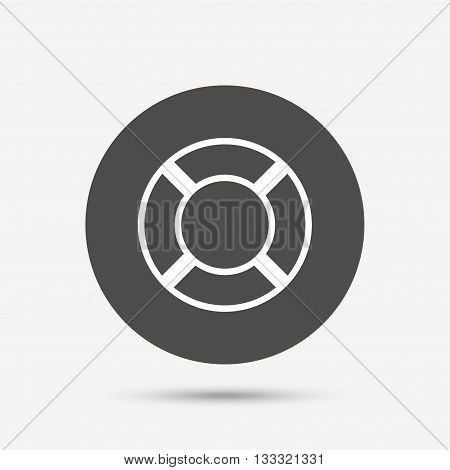 Lifebuoy sign icon. Life salvation symbol. Gray circle button with icon. Vector