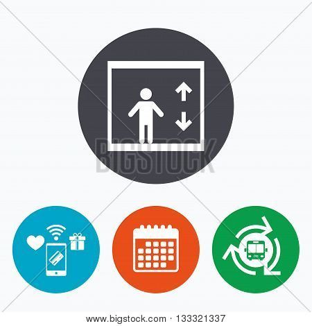 Elevator sign icon. Person symbol with up and down arrows. Mobile payments, calendar and wifi icons. Bus shuttle.