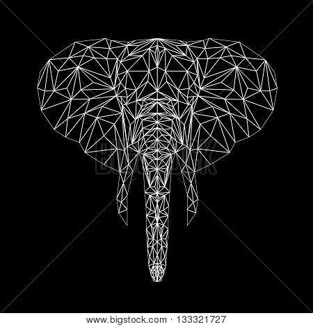 Vector elephant thin line style.  Elephant low poly design illustration. Abstract mammal animal.