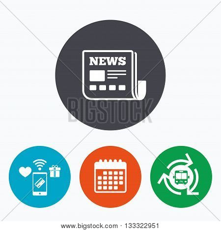 News icon. Newspaper sign. Mass media symbol. Mobile payments, calendar and wifi icons. Bus shuttle.