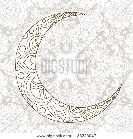 Ramadan Kareem half moon design background. Greeting design coloring page. Engraved vector illustration. Sketch for decoration, poster, print, t-shirt.