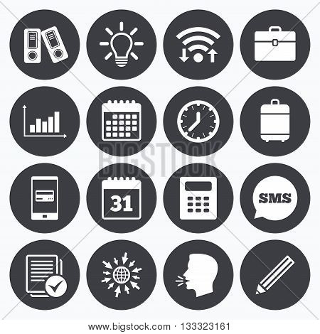 Wifi, calendar and mobile payments. Office, documents and business icons. Accounting, calculator and case signs. Ideas, calendar and statistics symbols. Sms speech bubble, go to web symbols.