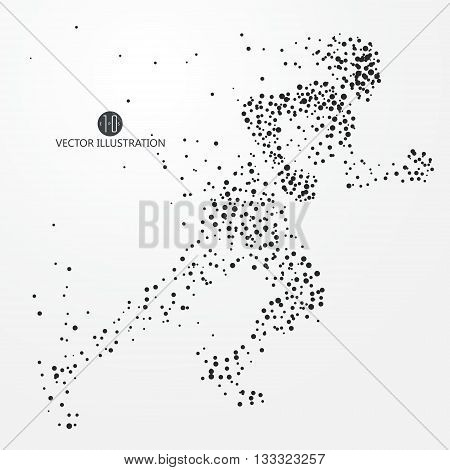 Running Man, points lines and connected to form, vector illustration.