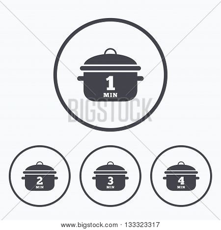 Cooking pan icons. Boil 1, 2, 3 and 4 minutes signs. Stew food symbol. Icons in circles.