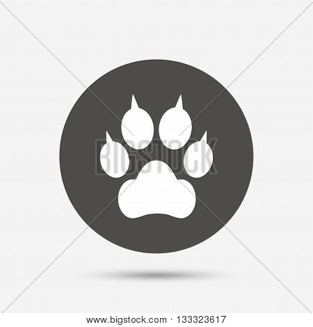 Dog paw with clutches sign icon. Pets symbol. Gray circle button with icon. Vector