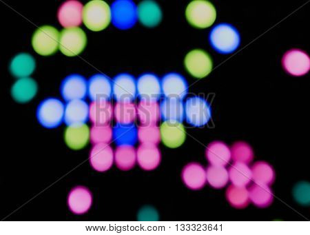 Light emitting diodes in color led handle buttons. blurred