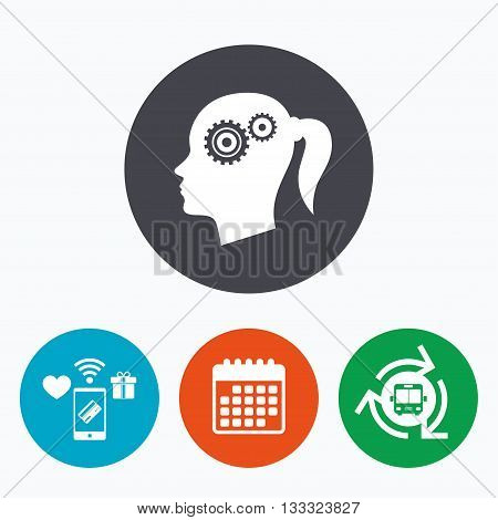 Head with gears sign icon. Female woman human head think symbol. Mobile payments, calendar and wifi icons. Bus shuttle.