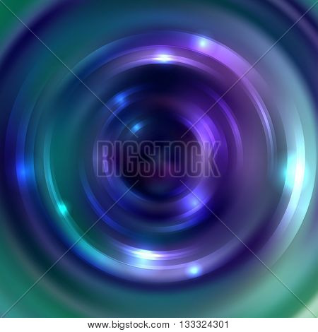 Abstract Circle Background, Vector Design. Glowing Spiral. The Energy Flow Tunnel. Purple, Green Col