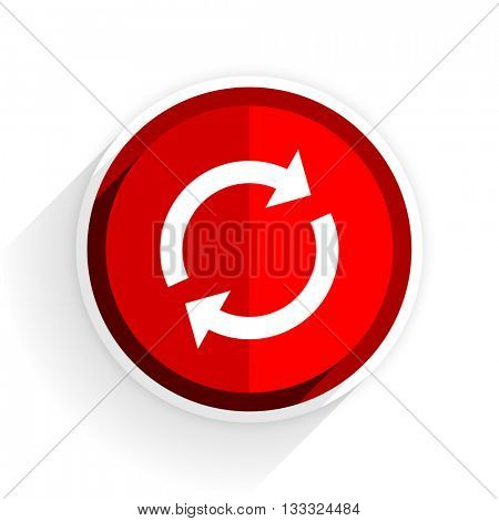 reload icon, red circle flat design internet button, web and mobile app illustration