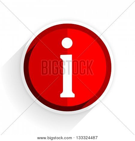 information icon, red circle flat design internet button, web and mobile app illustration