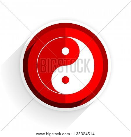 ying yang icon, red circle flat design internet button, web and mobile app illustration