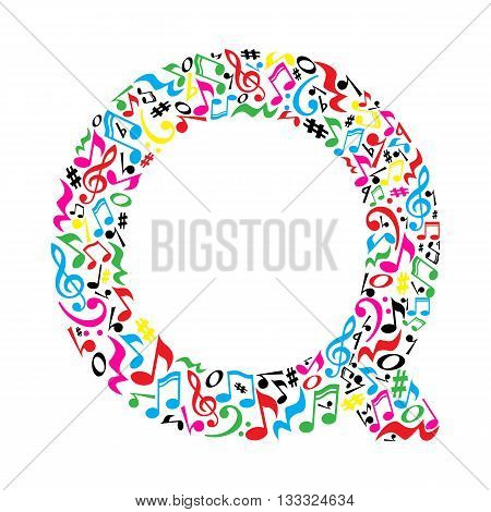 Q letter made of colorful musical notes on white background. Alphabet for art school. Trendy font. Graphic decoration.