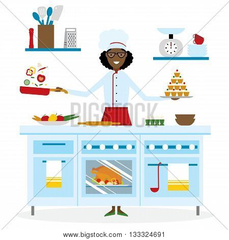 Female african american chef cooking on white background. Restaurant worker preparing food. Chef uniform and hat. Table and cafe equipment.