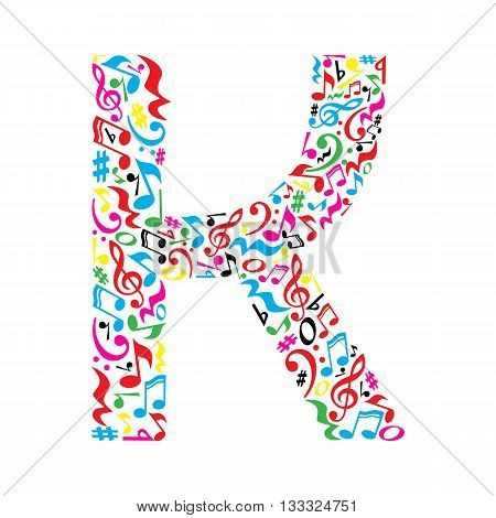 K letter made of colorful musical notes on white background. Alphabet for art school. Trendy font. Graphic decoration.