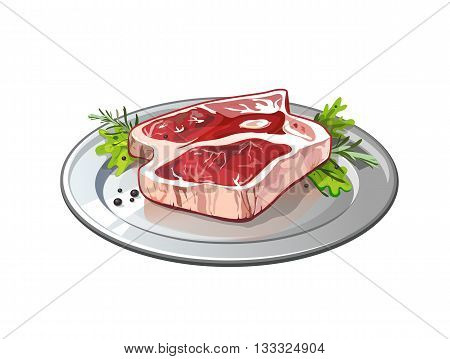 Meat on metallic plate. Isolated food on white background. Pork or beef raw meat. Restaurant meal.