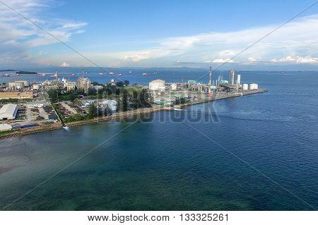 Labuan,Malaysia-June 7,2016:Aerial view of the Petronas Methanol Labuan at Rancha Rancha Industrial.Petronas Methanol Labuan engages in the production of methanol and Malaysian oil & gas company.