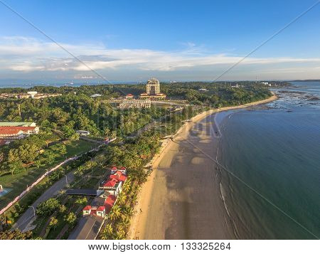 Labuan,Malaysia-June 7,2016;Aerial view of Batu Manikar Beach to Layang Layangan beach,which won the COBSEA Clean Beach Award 2008.Place to view sunset with long stretch of beach fringed & coconut trees