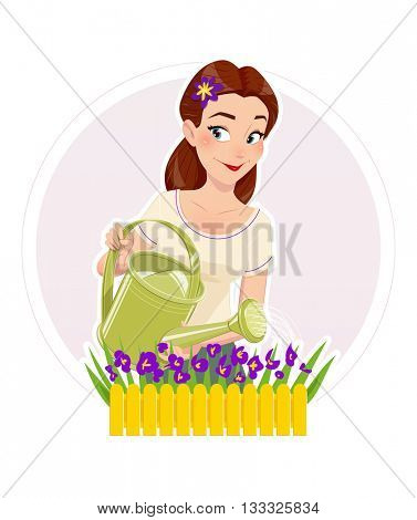Gardening beautiful girl watering flower vector illustration isolated white background housewife woman with can hobbies blooming flowers