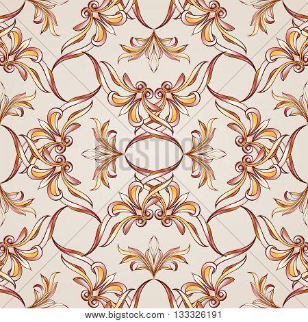 Seamless pattern with woven floral elements. Illustration in burgundy pink light brown and yellow shades on pastel rose pink background
