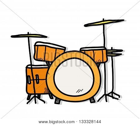 Drum Kit, a hand drawn vector illustration of a drum set.