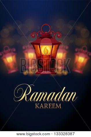 Ramadan Kareem islamic background. Eid mubarak. Islam holly month. Vector illustration of lighting lantern. Ramadan greeting template. Arabic design. Intricate Arabic lamp celebration Muslim festival.