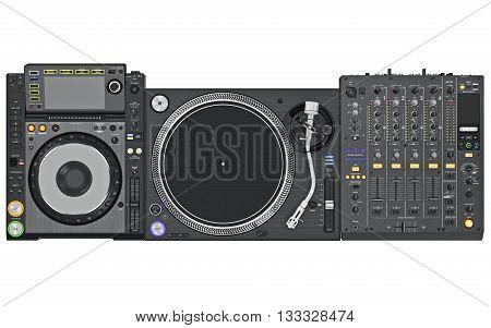 Set dj music mixer table, black professional equipment, top view. 3D graphic