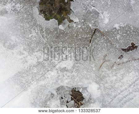 Frozen ground ice texture with cracks and hard snow, close-up top view of a slippery icy ground, winter photo.