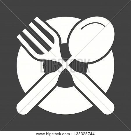 Plate, fork, dinner icon vector image. Can also be used for kitchen. Suitable for use on web apps, mobile apps and print media.