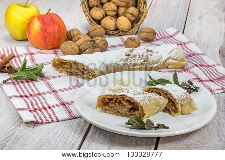Sweet Homemade Apple Strudel with Whipped Cream
