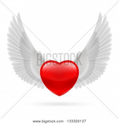 Red heart with white raised dove wings.