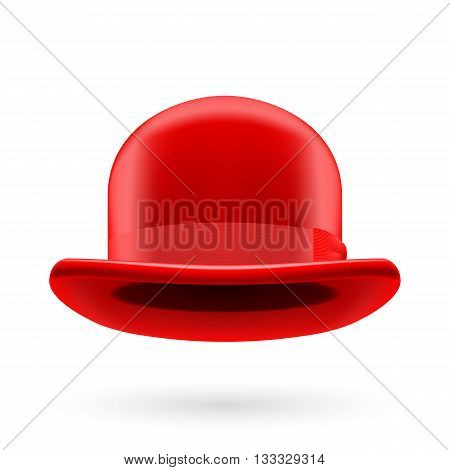 Red round traditional hat with hatband on white background.