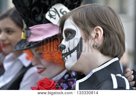 NOVOSIBIRSK RUSSIA - JUNE 4 2016: Young people dressed in costumes having fun at the city festival