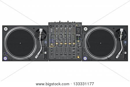 Set dj music mixer table, black professional equipment, top view. 3D graphic