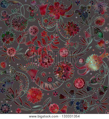 motley floral design on grey spotted  background