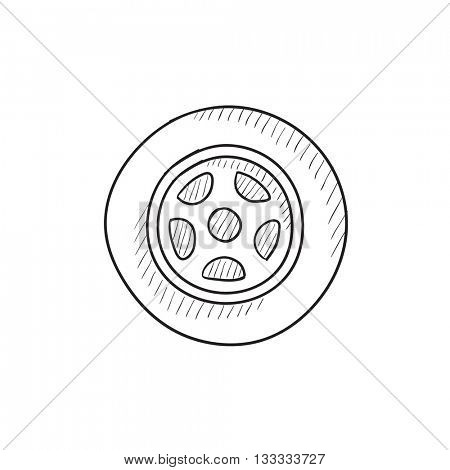 Car wheel vector sketch icon isolated on background. Hand drawn Car wheel icon. Car wheel sketch icon for infographic, website or app.