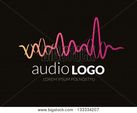 Logo template sound wave, studio, music, dj, audio system, store market party. Brand corporate identity, logotype. Clean and modern style design.