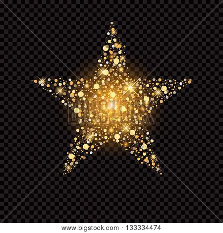 Golden star with sparkles isolated on black