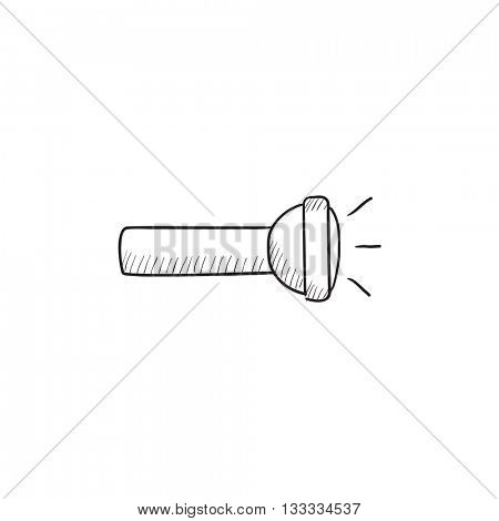 Flashlight vector sketch icon isolated on background. Hand drawn Flashlight icon. Flashlight sketch icon for infographic, website or app.
