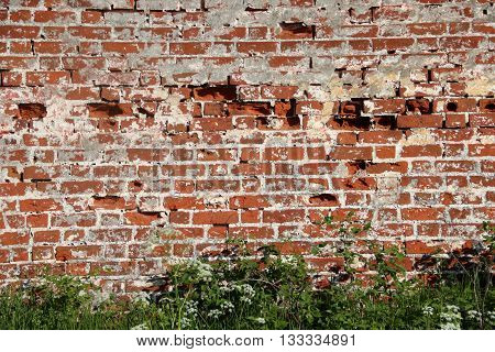 Wall part of Spaso-Prilutsky Monastery in the Vologda city, Russia. Castle defense wall