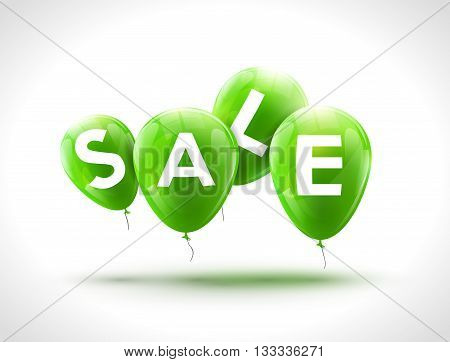 Flying balloons, concept of SALE for shops. Four Green flying party balloons with text SALE. Sale discount concept vector illustration.