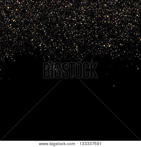 Golden glitter shine texture on a black background. Golden explosion of Confetti. Golden abstract particles on a dark background. Isolated Holiday Design elements. Vector illustration