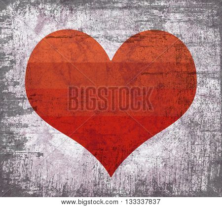 Red heart shape with heavy grunge effect