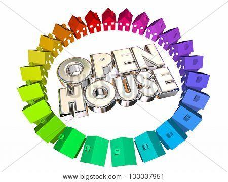 Open House Homes for Sale Words 3d Illustration